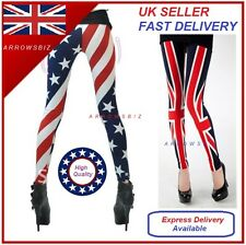 NEW USA AMERICAN / UK FLAG UNION JACK PRINTED STRETCH  LEGGINGS  FOR WOMEN GIRLS