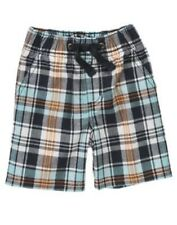 GYMBOREE DINO MIGHTY BLUE PLAID PULL ON SHORTS 18 24 2T NWT