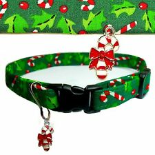 CAT COLLAR Candy Cane,Holly,Green Cotton PICK SIZE,Charm,Bell,Christmas Holiday