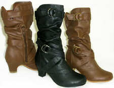 Girls Tall Slouchy Buckle Boots Low Heel Slouch *Kid Pageant Costume* ALL SIZES