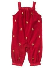 GYMBOREE GINGERBREAD GIRL RED COOKIE CORDUROY ONE PIECE 0 3 6 12 NWT