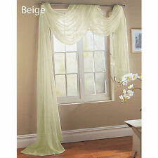 ELEGANCE SHEER VALANCE SCARF WINDOW TREATMENT COVERING 20 DIFFERENT COLORS