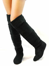 Women Tall Short Ankle Mid Calf Flat Over Knee Boots Sexly Fux Suede Booties