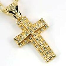 """Iced Out Bling CZ Cross Pendant 24"""" Figaro Chain Hip Hop 62Z00874"""