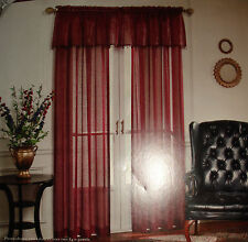 """Cameo Tailored Sheer Panel 84"""" Valance 50"""" Beads White Ivory Ruby Brown Ginger"""