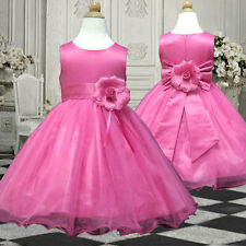 USMD58 Hot Pink Wedding Pageant Christmas Party Flower Girl Dress 1 to 14 Years