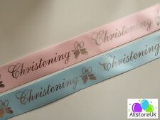 2 Colours - Pink Blue Christening Cut Satin Ribbon 20mm 2cm Wide Cake Wrap Gift