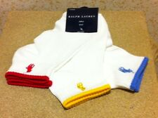 NWT Ralph Lauren Girls 3Pair/Pack White Socks with Color Edge and Matching Logo