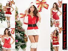 Sexy Santa Costume Miss Christmas Outfit Fancy Dress Size UK 6 8 10 S M Lady Elf