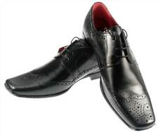 Redtape Mens Skelton Leather Black Brogue Lace up Square toe Shoes UK 7-12