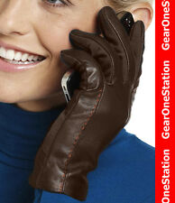 New Isotoner SmarTouch Stretch Leather Gloves Brown $54 Smart Touch Fleece
