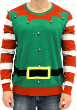 Adult Jumper Ugly Christmas Sweater Holiday Santa Helper Elf Costume with Bells