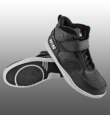Motorcycle Riding Skate BMX Black High Top Shoes Leather Men's Stealth Black NEW