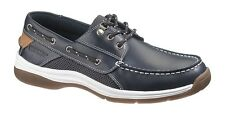 Sebago Men's Casual Deck Boat Shoes Helmsman Smooth Navy Blue Leather