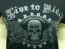 WOMEN'S LADIES BIKER T-SHIRT Live To Ride RHINESTONES SKULL & WINGS XS-XL 2X 3X