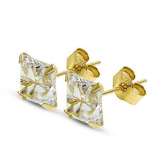 9CT GOLD CZ STUD EARRINGS SQUARE MULTI CUT BRILLIANT CLEAR WHITE CUBIC ZIRCONIA