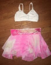 Marcea Pink Velour Dance Ballet Lyrical White Bra Top Skirt Costume Adult S M