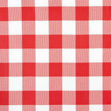 RED & WHITE GINGHAM DESIGN PVC VINYL WIPE CLEAN TABLECLOTH MANY SIZES AVAILABLE