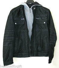 NEW ANGELO LITRICO BLACK LEATHER JACKET+REMOVABLE GREY HOODIE GERMANY MSRP $400