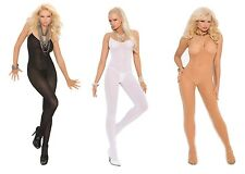 Opaque Body Stocking Spaghetti Straps Crotchless Open Crotch Nylon 1601
