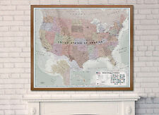 Extra Large USA Wall Map Poster (Executive) - **FREE SHIPPING** MANY FINISHES