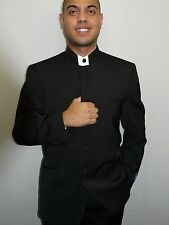 Mens Chinese Suit Banded collar black Nehru Style Collarless Church pastor 782GA