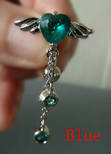 Quality Belly ring Dangle/Bar,316L Surgical/CZ Angel Body jewellery BR12