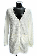 YUMI Women's Cardigan K1566 G STRINGY Ivory Long Sweater Pullover Tunic Blouse