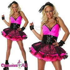 Womens 80s 1980s Pink Pop Star Costume Fancy Dress Up Hens Party Full Outfit