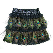 PEACOCK FEATHER BLACK SEQUIN PROM COCKTAIL HALLOWEEN DAY PARTY LACE SKIRT S M L
