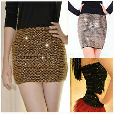 New Fashion Women Girl Sexy Bandage Sequin Glitter Club Party Evening Mini Skirt