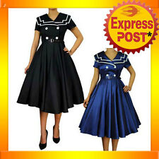 RK20 Vintage Sailor Nautical Retro Flared Formal Dress Rockabilly 50s 40s Pin Up