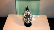 LADIES KATE MIDDLETON STYLE RING - LARGE CRYSTAL SURROUNDED WITH RHINESTONE- UK