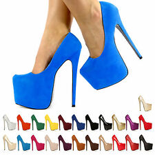 HIGH HEEL SHOES LADIES STILETTO COURT CONCEALED PLATFORMS ULTRA KILLER HEELS 3-8