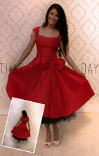VINTAGE 1950's ROCKABILLY DRESS & PETTICOAT BLACK RED SWING PARTY EVENING PROM