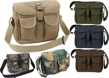 Military Canvas 2 Pocket Carry Ammo Courier Tote Shoulder Bag