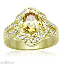 Oval Shape Champagne CZ 18kt Gold EP Ladies Fashion Ring