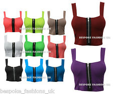 H10A WOMEN'S PADDED ZIP FRONT BRALET LADIES STRAPPY TOP SIZE S/M 8-10 M/L 12-14
