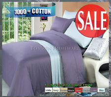 1000TC 100% EGYPTIAN COTTON COLLECTION  FITTED / FLAT BED SHEETS SET 8 COLOURS