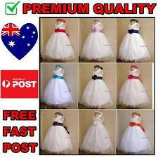 White Flower Girl Dress, Tulle Pageant Party Girls Dress Size 000 to 14