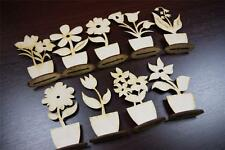 (10x) FL Plain Wood Wooden Stand Flowers Embelishments Craft Shapes Blank Daisy