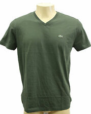 NWT LACOSTE MEN'S PIMA Cotton V-NECK T-SHIRT Chasse (Dark Green)-sz-S~XXL