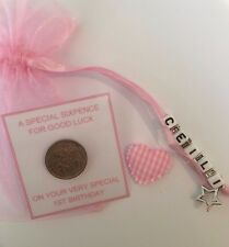 Personalised Lucky Sixpence Gift - Baby First Birthday - Girl or Boy ( 1st )