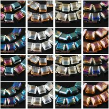 25pcs Charms Colorized Glass Crystal Square Quadrate Necklace Finding Bead 14mm