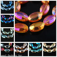 Free Ship 22mm Multicolor Long Elliptic Crystal Glass Spacer Beads Faceted Charm