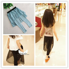 Boutique Fake 2Ps Set-up Pants Soft Model Cotton Leggings W/ Chiffon Skirt Chic