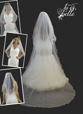 Ivory/White 2 Tier Cathedral Crystal Detachable Veil Satin Ribbon Edge Wedding