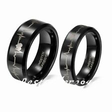 6mm/8mm Black Comfort Fit Tungsten Carbide Rings with Laser Forever Love Design