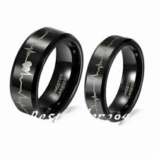 Tungsten Carbide Heartbeat Comfort Fit Ring Wedding Band Laser Forever Love EKG