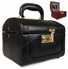 High Quality Genuine Hand Crafted Leather Vanity Make-Up Art Toiletries Box Case